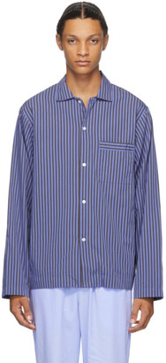Tekla Blue Striped Pyjama Shirt