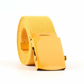 Icsth Womens Canvas Belts Nylon Military Tactical Wrap Belt With Medal Buckle Candy color - yellow - 130 cm