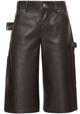 Bottega Veneta Leather Bermuda Shorts - Womens - Dark Brown