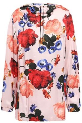 Mother of Pearl Floral-print Satin Hooded Top