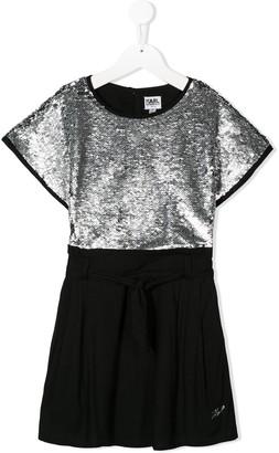 Karl Lagerfeld Paris sequinned bodice dress