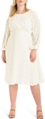 ELOQUII Dot Chiffon Long Sleeve Midi Dress