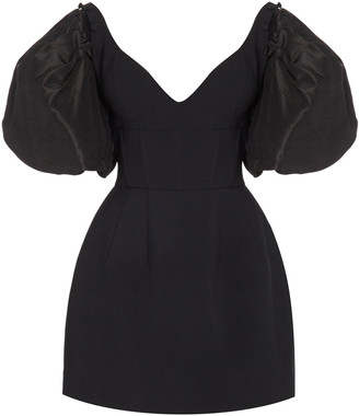 Prabal Gurung Satin-Paneled Crepe Mini Dress