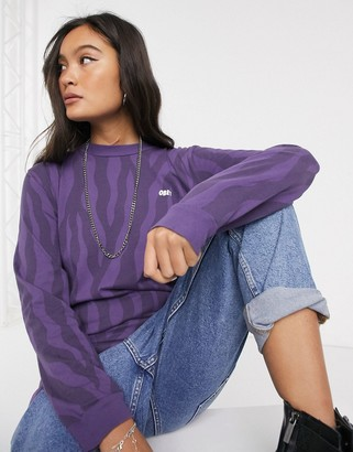 Obey long sleeve t-shirt in tonal tiger print with chest & back logo-Purple