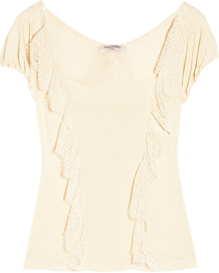 Valentino Silk lace-trimmed stretch-jersey top