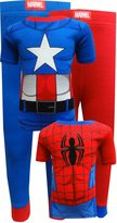 Marvel Spiderman Captain America 4 Pc Toddler Cotton Pajamas for boys