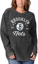 G Iii Women's G-III Sports by Carl Banks Black Brooklyn Nets Slouchy Comfy Cord Crewneck Pullover Sweatshirt