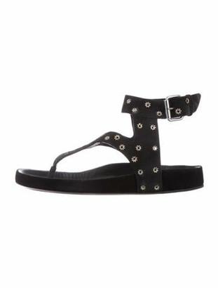 Isabel Marant Suede Studded Accents Gladiator Sandals Black