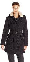 Tommy Hilfiger Women's Quilted Jacket with Sherpa Collar