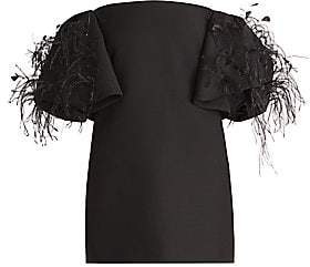 Valentino Women's Off-The-Shoulder Ostrich Feather Wool & Silk Cocktail Dress