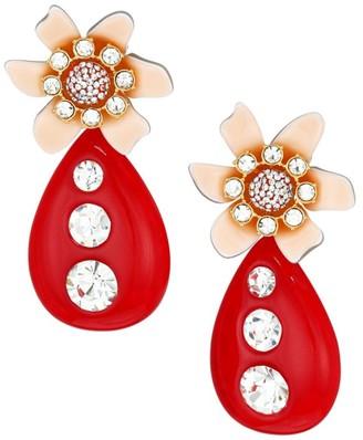 Lele Sadoughi Crystal Flower Drop Earrings