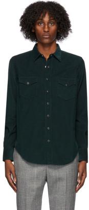 Saint Laurent Green Corduroy Classic Western Shirt
