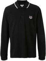Kenzo Long-Sleeved Tiger Patch Polo Shirt