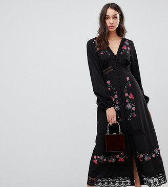 Asos DESIGN Tall embroidered maxi dress with lace inserts