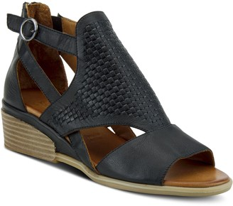 Spring Step Leather Adjustable Strap Wedge Sandals - Padeeda