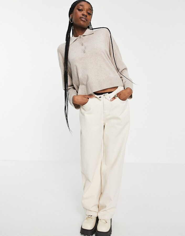 Thumbnail for your product : Weekday Monique jumper with collar in beige