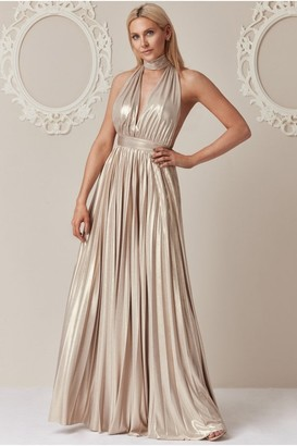 Iclothing Goddiva Stephanie Pratt Gold Deep V-Neck Metallic Maxi Dress