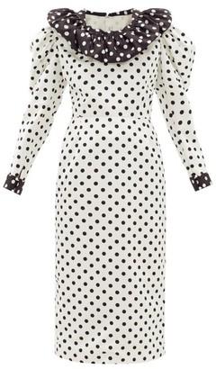 Rodarte Puff-sleeve Polka-dot Satin Dress - Womens - White Black