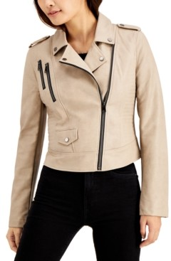 Coffee Shop CoffeeShop Juniors' Faux-Leather Moto Jacket, Created for Macy's