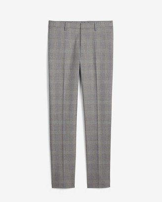 Express Extra Slim Gray Plaid Performance Blend Suit Pant