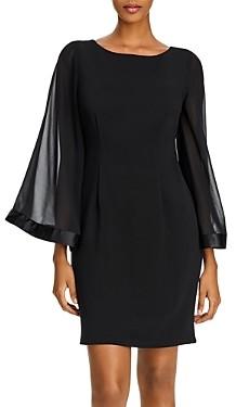 Adrianna Papell Bell-Sleeve Ribbed Sheath Dress