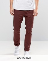Asos Tall Slim Chinos In Burgundy
