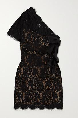 Saint Laurent One-sleeve Bow-embellished Lace Mini Dress - Black