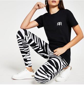 River Island Zebra Print Leggings - Black