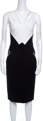 ZUHAIR MURAD Monochrome Colorblock Lace Insert Sleeveless Dress S