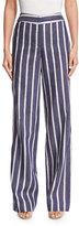 Johanna Ortiz Striped High-Waist Wide-Leg Trousers