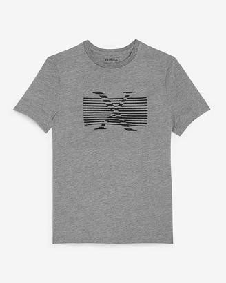 Express Gray Logo Stripe Graphic T-Shirt