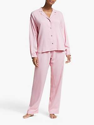 John Lewis & Partners Harley Herringbone Pyjama Set, Pink