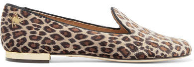 Charlotte Olympia Nocturnal Embroidered Leopard-print Velvet Slippers