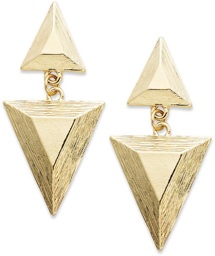 Bar III 12k Gold-Plated Triangular Textured Drop Earrings