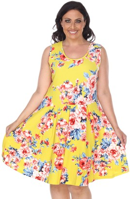 White Mark Plus Size Pleated Fit & Flare Dress