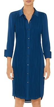 Halston Long Sleeve Pleated Shirt Dress