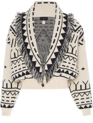 Alanui Rainy Mountains Fringed Cashmere And Wool Cropped Cardigan