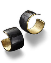 BIJOUX BAR KJL by KENNETH JAY LANE Black Enamel and Gold-Tone Hoop Earrings