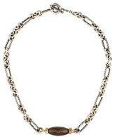 David Yurman Two-Tone Smoky Quartz Figaro Link Necklace