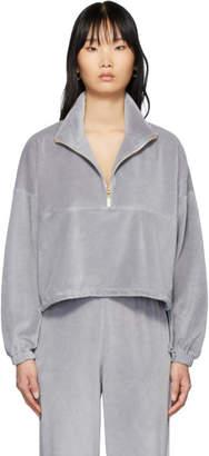 Gil Rodriguez SSENSE Exclusive Grey Velour Diana Half-Zip Sweatshirt