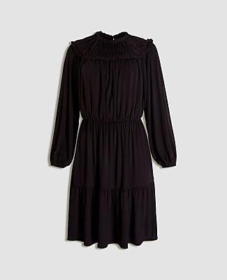 Ann Taylor Petite Ruffle Collar Flare Dress