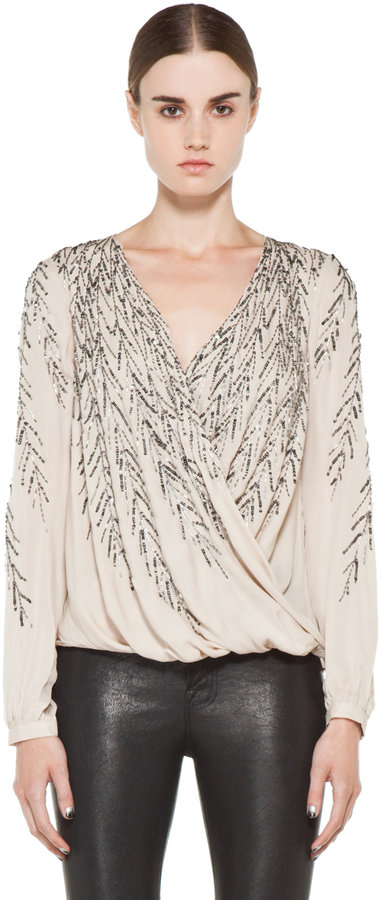 Haute Hippie Feather Embellishment Blouse in Sheer