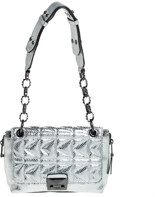 Karl Lagerfeld Paris Metallic Silver Quilted Leather Flap Shoulder Bag