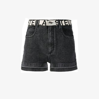 Stella McCartney Contrast Logo Waist Denim Shorts