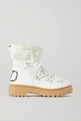 Valentino Garavani Logo-detailed Leather And Quilted Shell Ankle Boots - White
