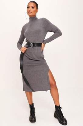I SAW IT FIRST Charcoal Jersey High Neck Open Back Split Midaxi Dress