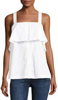 MICHAEL Michael Kors Cross-Back Ruffled Tank, White