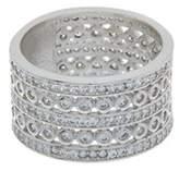 Rivka Friedman Rhodium Clad Simulated Diamond 5-row Wide Band Ring.