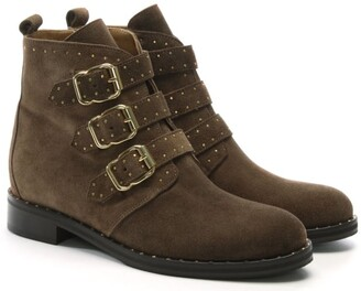 Daniel Nibble Taupe Suede Studded Biker Boots