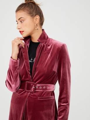 Very Belted Velvet Jacket - Plum